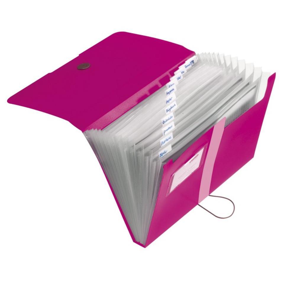 Lõõtsmapp A4 Easy Orga 12 vahega roosa