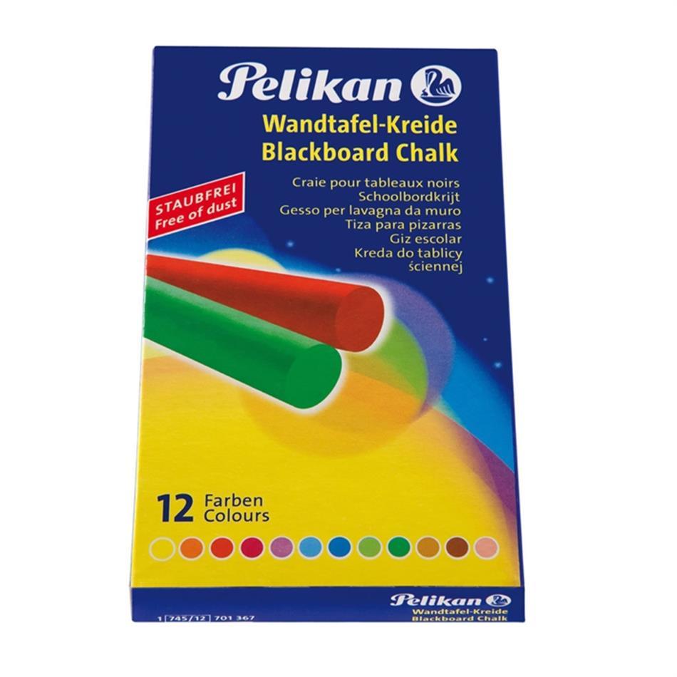 Kriit tahvli värviline 12 tk Pelikan üm.