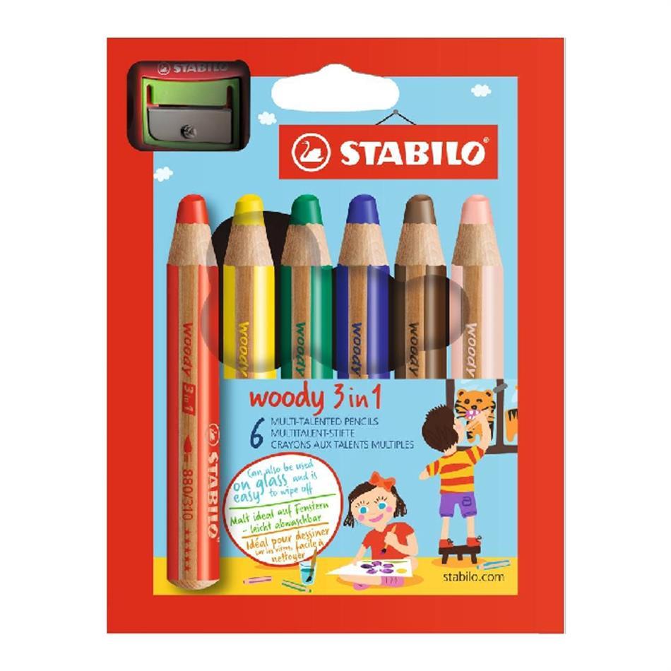 Värvipliiats 6 värvi  Stabilo  Woody + teritaja