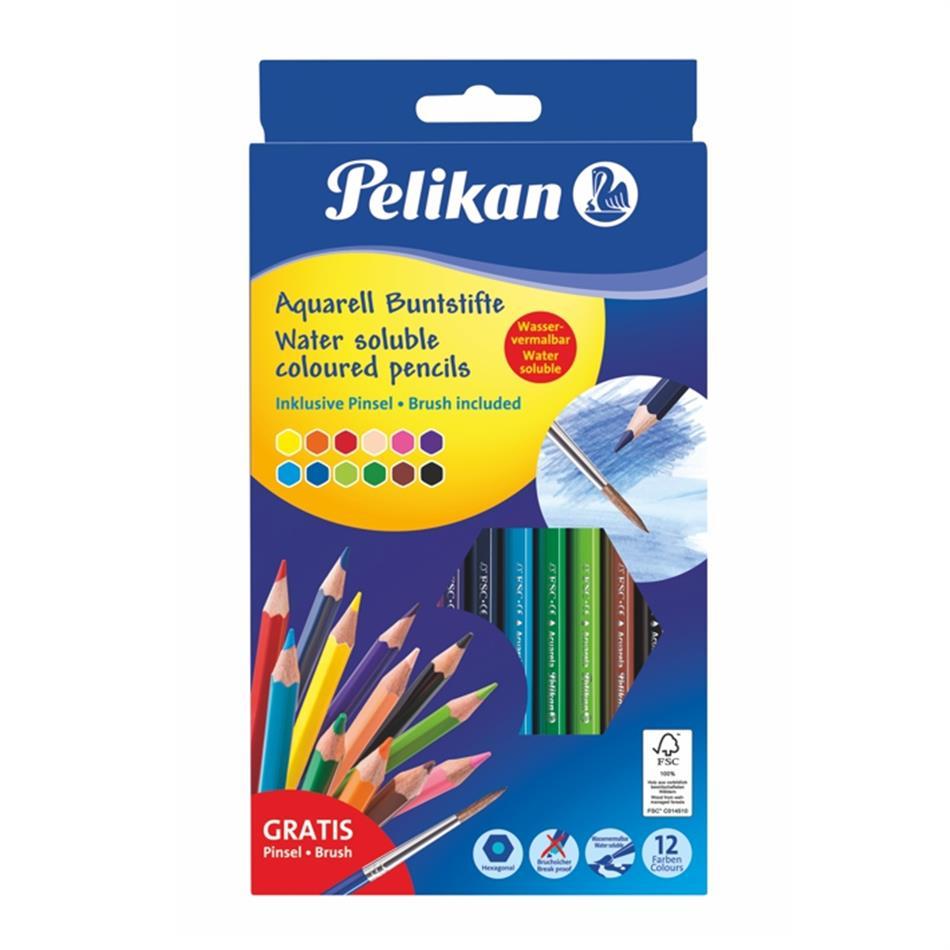 Akvarellpliiats Pelikan 12 värvi kuusnurkne + pintsel