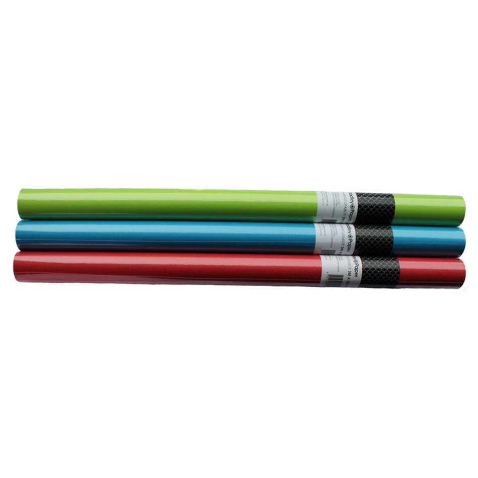 Raamatupaber 3m x 50cm sinine/punane/roheline seg..