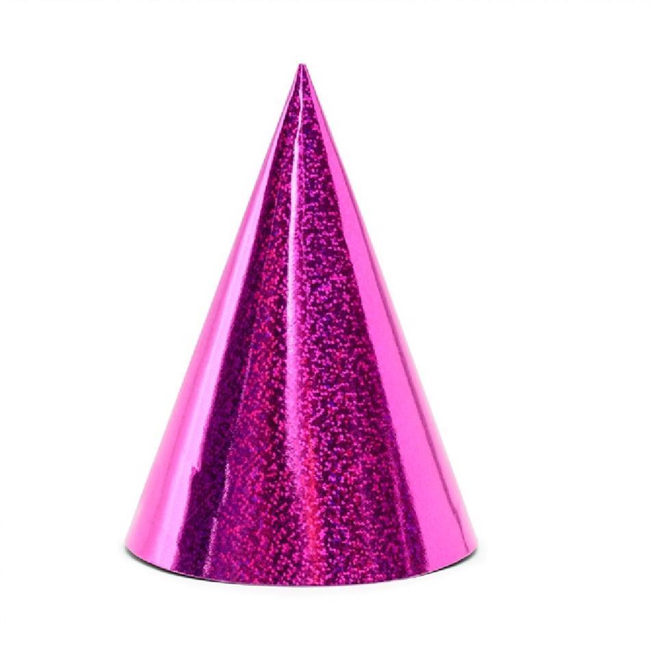 Peomüts - roosa, holograafiline, 6 tk