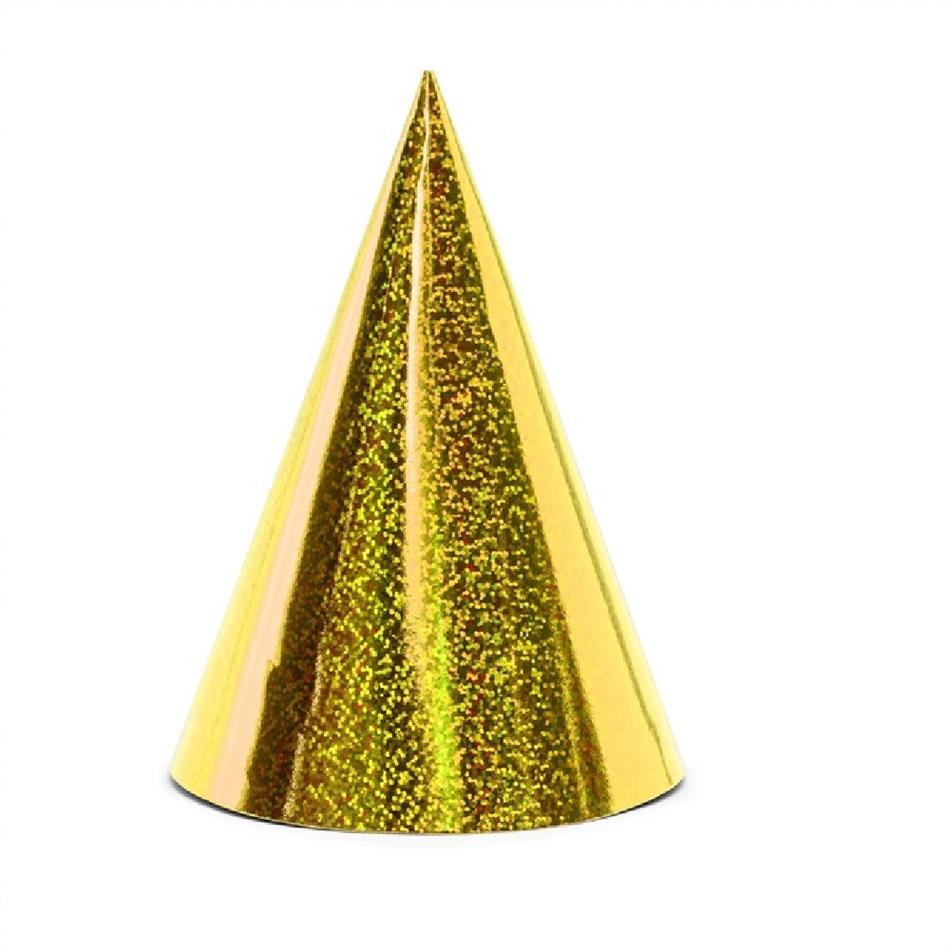 Peomüts - kuldne, holograafiline, 6 tk