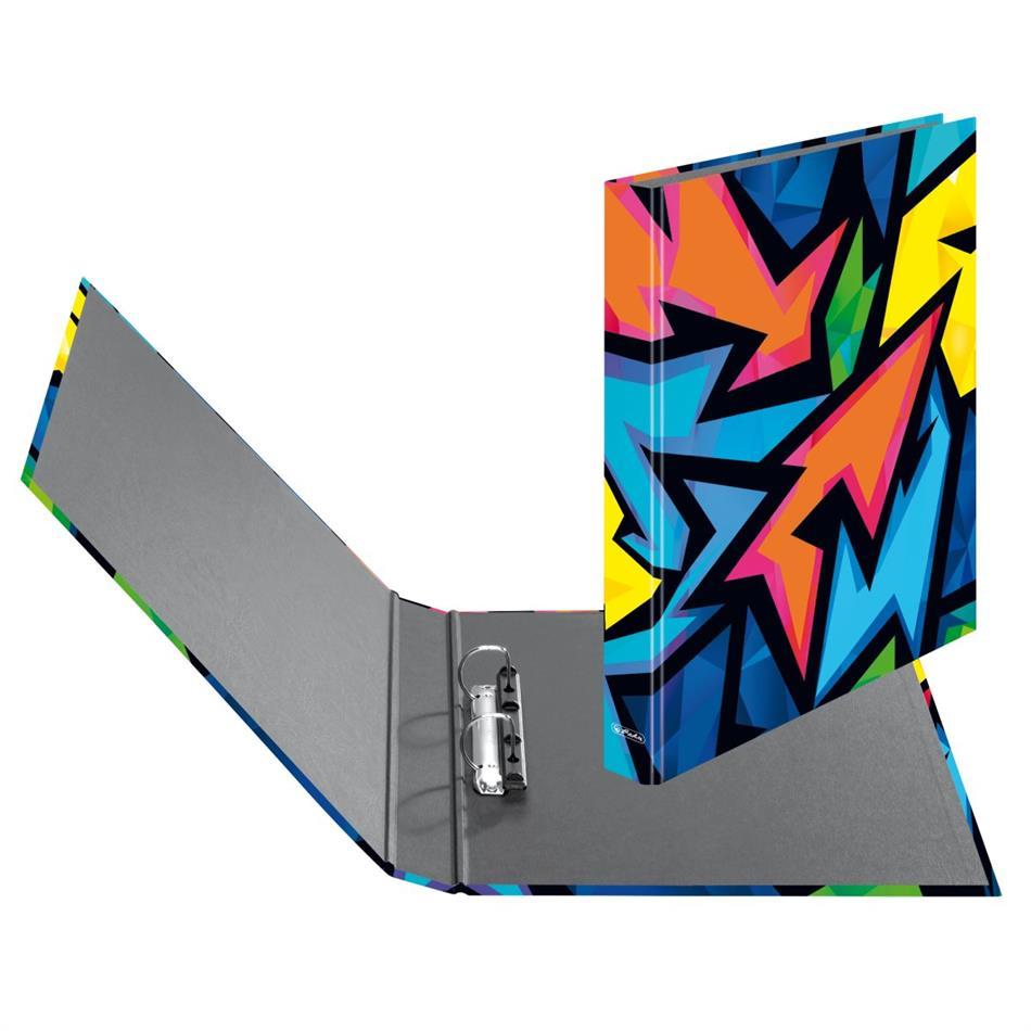 Rõngaskaaned Herlitz Neon Art - 2 rõngast, A4, 25mm