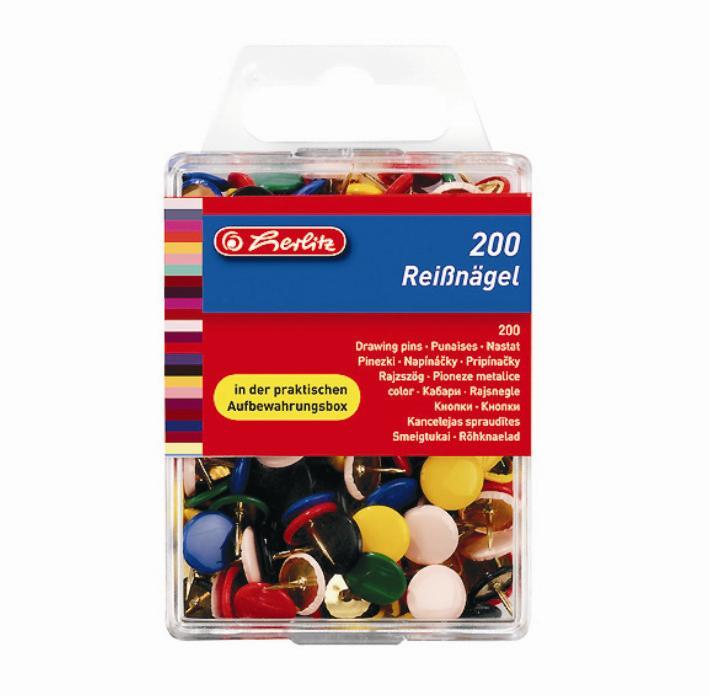 Rõhknaelad Herlitz värviline 200 tk