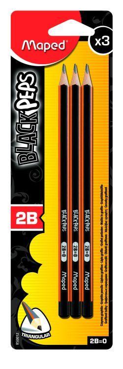 Harilik pliiats Maped BlackPeps 2B 3tk